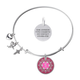 Valentine Heart Charm Custom Engraved Medical Alert Bracelets with Expandable Wire Bangle - Fill Color and Emblem Color