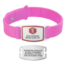 Divoti Custom Engraved Wheat Medical Alert Bracelet - Sport Silicone Tag