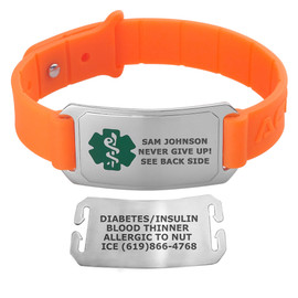 Sport Silicone Large Custom Engraved Medical Alert Bracelet Bands,  2-inch Tags - Various Band Colors and Emblem Colors