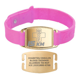 Sport Silicone Gold Small Custom Engraved Medical Alert Bracelet Bands,  1.5-inch Tags - Band Color and Style