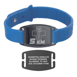 Sport Silicone Black Custom Engraved Medical Alert Bracelet Bands,  1.5-inch Tags - Various Band Colors and Styles
