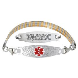 Divoti Custom Engraved Omega Gold / Silver Medical Alert Bracelet - Olive Tag