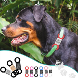 Heavy Duty Jingle-Free Silent Slide-On Collar Pet ID Tags for Cats and Dogs - Color and Size