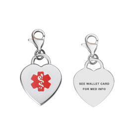 Adorable Pre-Engraved Heart  Medical Alert Charm WITH Lobster Clasp, Red - Content