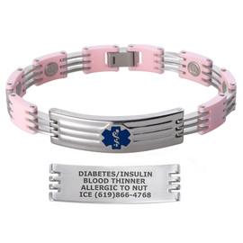 Color Block Magnetic Custom Engraved Medical Alert Bracelets with Ceramic Links - Color and Size