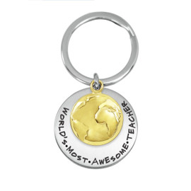 Globe Charm Cusotm Engraved Key Chain Gifts  - Color