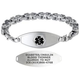 Divoti Custom Engraved Cubic Byzantine Medical Alert Bracelet - Matte Steel Tag
