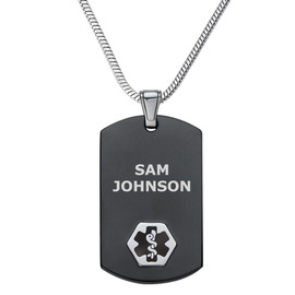 """Chic Black & Silver Custom Engraved Medical Alert Necklace, Emergency Medical ID Necklace, Medical Dog Tag- 24/28"""" - Style and Color"""