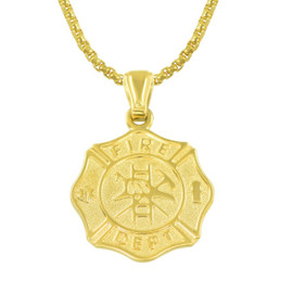 Firefighter Maltese Cross Gold Necklace - Style and Size