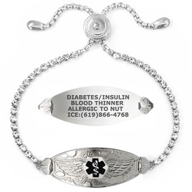 Angel Wing Custom Engraved Medical Alert Bracelets Adjustable Bling Bling Crystal Chain, Medical ID Bracelets - Color and Size