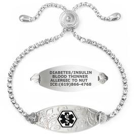 Lovely Filigree Custom Engraved Medical Alert Bracelets Adjustable Bling Bling Crystal Chain, Medical ID Bracelets - Color and Size