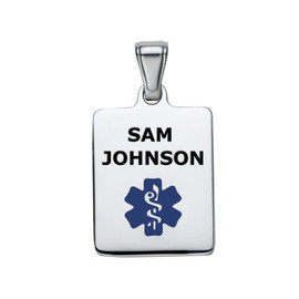 Sleek Medical ID Pendant Tags for  Medical Alert ID Necklaces -Color