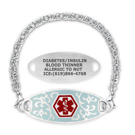 Divoti Custom Engraved Handmade Byzantine Medical Alert Bracelet - Jardin Tag