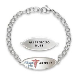 Beautiful N Slender Custom Engraved Adjustable Medical Alert Bracelets with Oval Link Chain, Medical ID Bracelets - Color and Size