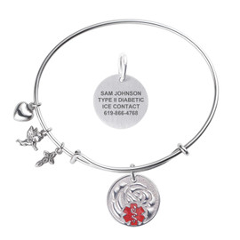 Divoti Custom Engraved Expandable Wire Bangle Medical Alert Bracelet - Rose Tag
