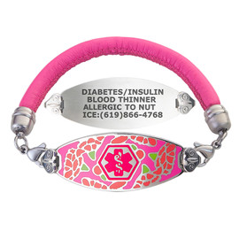 Graceful Carnation Custom Engraved Medical Alert Bracelets with Pink Lam Leather Cord - Color and Size