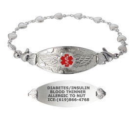 Angel Wing Custom Engraved Medical Alert Bracelets with Heart Link Chain, Emergency Medical ID Bracelets - Size, Colors and Styles