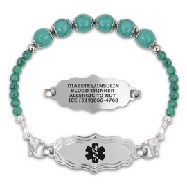 First Hope - Victorian Art Deco Engraved Medical Alert Bracelets with Gem Beaded Stretch Chain, Emergency Medical ID Bracelets - Various Sizes, Colors and Styles
