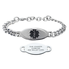 Divoti Custom Engraved Curb Medical Alert Bracelet - Wave Pure Titanium Tag