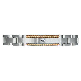 Mega Link PVD Gold TI Cable CZ Gem Magnetic Bracelets for Men, Pain Therapy w/99.99% Germanium - Size