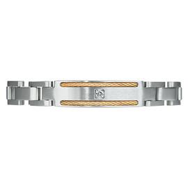 Mega Link PVD Gold TI Cable CZ Gem Magnetic Bracelets for Men, Pain Therapy w/99.99% Germanium - Size