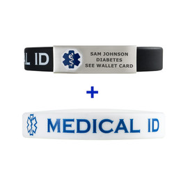 Silicone Sport Custom Engraved Medical Alert ID Bracelet Bands - Combo and Color