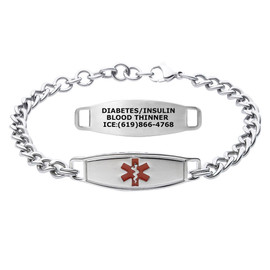 Divoti Custom Engraved Curb Link Medical Alert Bracelet - Classic Tag