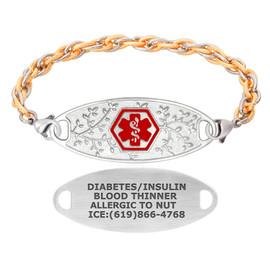 Divoti Custom Engraved Inter-Mesh Gold/Silver Medical Alert Bracelet - Olive Tag