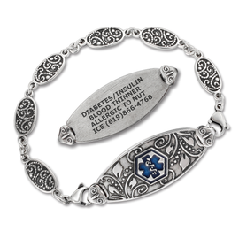 Heritage Silver Custom Engraved Medical ID Bracelets with Filigree Link Chain,  Antique Silver Plated Medical Bracelets -Style / Sizes