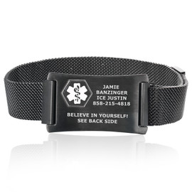 Divoti Custom Engraved Mesh Loop Medical ID Bracelets with Magnetic Closure