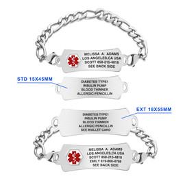 Extended Arc Tag Custom Engraved Medical Alert Bracelets with Figaro Chain, Emergency Medical Bracelets - Color and Size