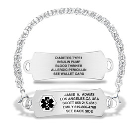 Divoti Custom Engraved Handmade Byzantine Medical Alert Bracelet - Arc Tag