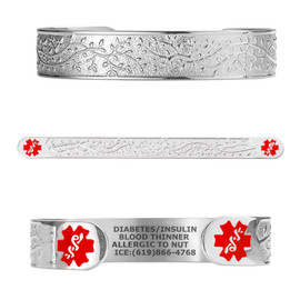 "Beautiful Olive Custom Engraved Medical Alert Bracelets, Adjustable Medical ID Cuff (fits 6.5-8.0"") - Color"
