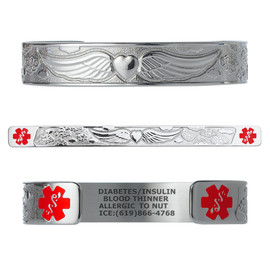"Angel Wing Custom Engraved Medical Alert Bracelets, Adjustable Medical ID Cuff (fits 6.5-8.0"") - Color"