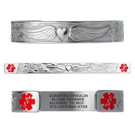 """Angel Wing Custom Engraved Medical Alert Bracelets, Adjustable Medical ID Cuff (fits 6.5-8.0"""") - Color"""