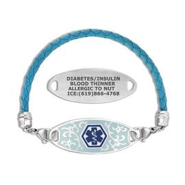 Divoti Custom Engraved Woven Blue Leather Medical Alert Bracelet - Jardin Tag