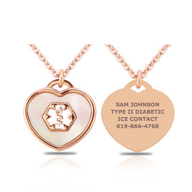 Mother of Pearl PVD Rose Gold Heart Pendant Medical Alert ID Necklace - Color