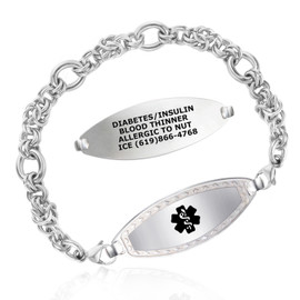 Divoti Custom Engraved Divided Byzantine Medical Alert Bracelet - Diamond Border