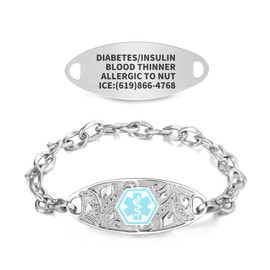 Divoti Custom Engraved Lip Link Medical Alert Bracelet - Vertical Filigree Tag