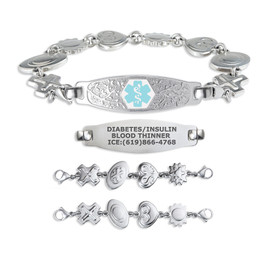 Beautiful Olive Tag Custom Engraved Medical Alert Bracelets for Women,  Medical ID Bracelet - Reversible Charm Chain