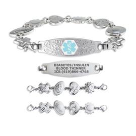 Divoti Custom Engraved Reversible Charm Medical Alert Bracelet - Olive Tag