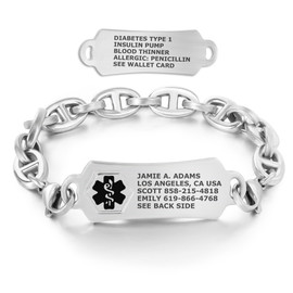 Divoti Custom Engraved H Link Medical Alert Bracelet - Rect Tag