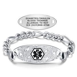 Divoti Custom Engraved Titanium Figaro Medical Alert Bracelet - Filigree Tag