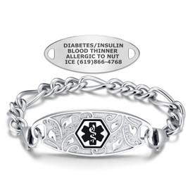 Divoti Custom Engraved Titanium Figaro Medical Alert Bracelet - Filigree Tag