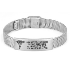Mesh Medical Alert Bracelets Titanium Medical Bracelet, Medical ID Bracelet Adjustable w/Free Engraving