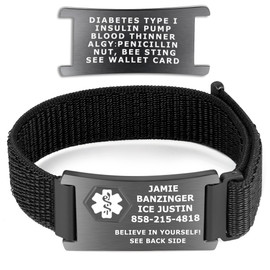 Divoti Custom Engraved Woven  Loop Medical ID Bracelets with Velcro Closure