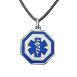 Premier Octagon Tag Medical ID Necklace, Medical Pendant Tag w/Free Engraving-20 in Genuine Leather Cord