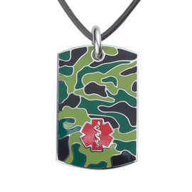 Camo Black Medical Alert Necklace, Emergency Medical ID Necklace, Medical Dog Tag w/Free Engraving- 20 Genuine Leather Cord