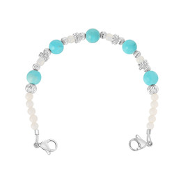 Divoti Pearl & Turquoise Beads Interchangeable Medical Alert Replacement Bracelet for Women