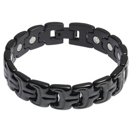 Divoti Double Ridge PVD Black 316L Magnetic Bracelet for Men